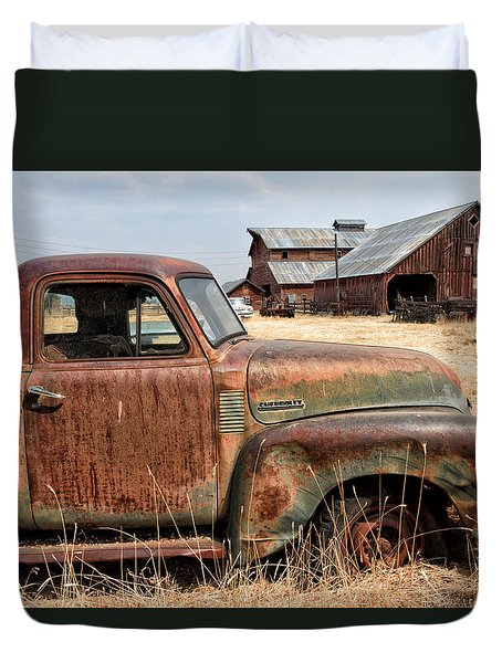 '54 Chevy Put Out To Pasture Duvet Cover