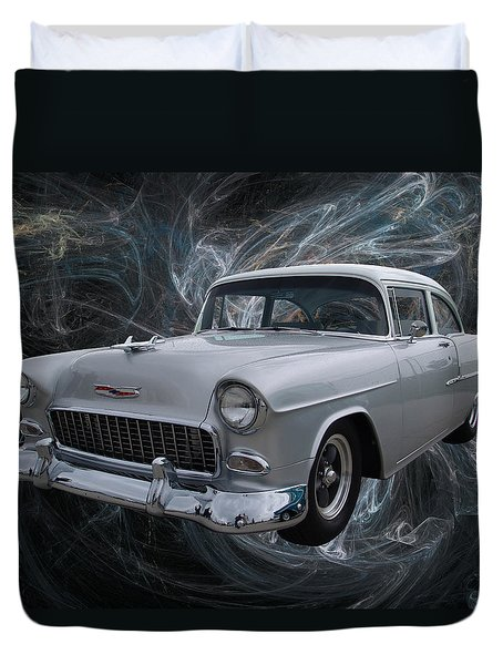 55 Chevy Duvet Cover by Chris Thomas