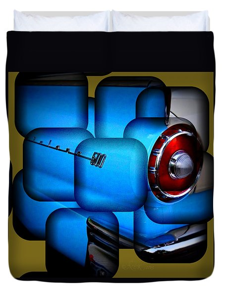 Duvet Cover featuring the photograph 57 Fairlane 500 Taillight by Nick Kloepping