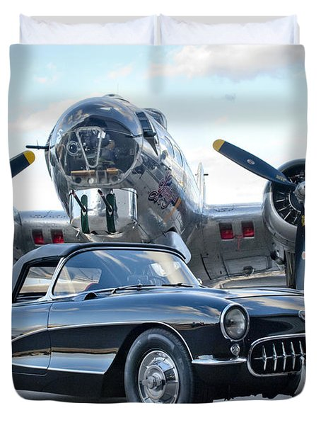 1957 Chevrolet Corvette Duvet Cover by Jill Reger