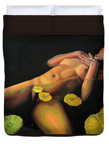 Duvet Cover featuring the painting 6 30 A.m. by Thu Nguyen