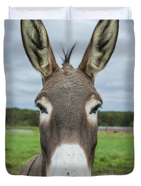 Animal Personalities Friendly Quirky Donkey Face Close Up Duvet Cover by Jani Bryson