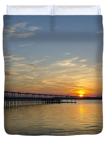 Arthur Ravenel Bridge Tranquil Sunset Duvet Cover by Dale Powell