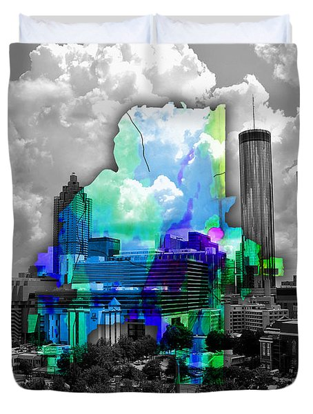 Atlanta Map And Skyline Watercolor Duvet Cover by Marvin Blaine