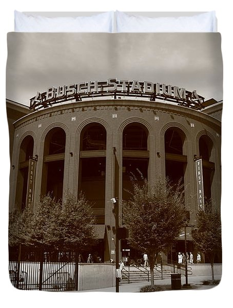 Busch Stadium - St. Louis Cardinals Duvet Cover by Frank Romeo