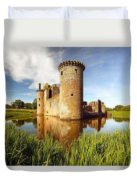 Duvet Cover featuring the photograph Caerlaverock Castle by Grant Glendinning