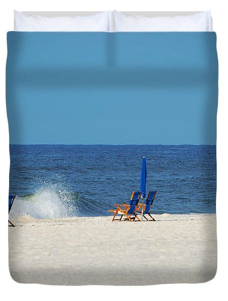 Duvet Cover featuring the digital art 6 Chairs And Umbrella by Michael Thomas