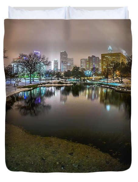 Charlotte Nc Skyline Covered In Snow In January 2014 Duvet Cover