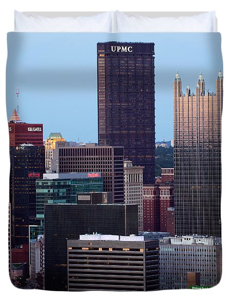 Downtown Skyline Of Pittsburgh Pennsylvania Duvet Cover by Bill Cobb