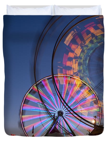 Evergreen State Fair With Ferris Wheel Duvet Cover