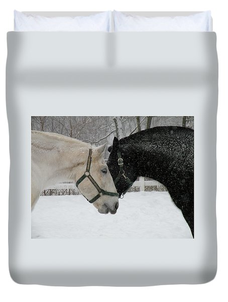 Nh Mounted Police Horses Duvet Cover