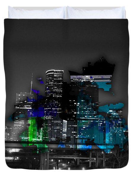 Houston Map And Skyline Watercolor Duvet Cover by Marvin Blaine