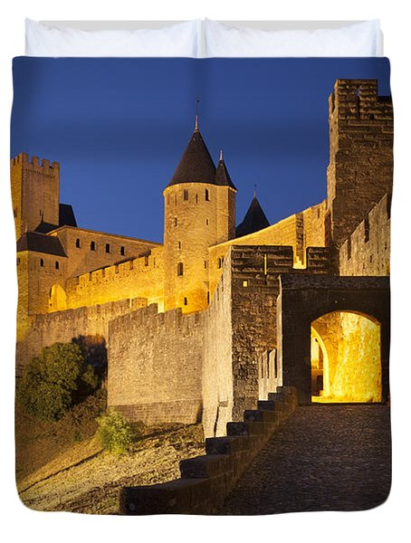 Medieval Carcassonne Duvet Cover by Brian Jannsen