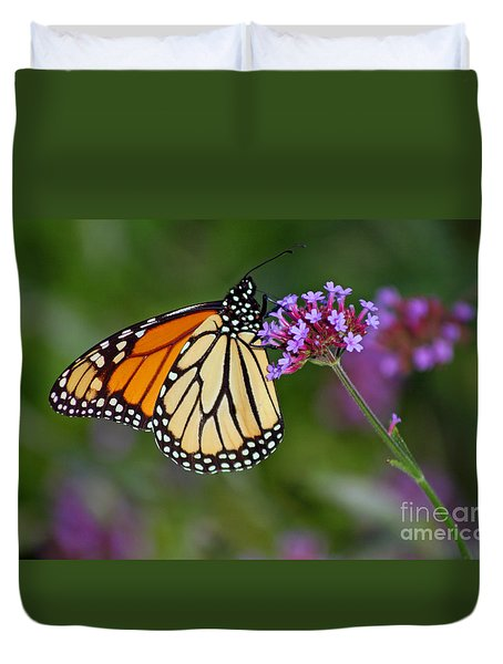 Monarch Butterfly In Garden Duvet Cover