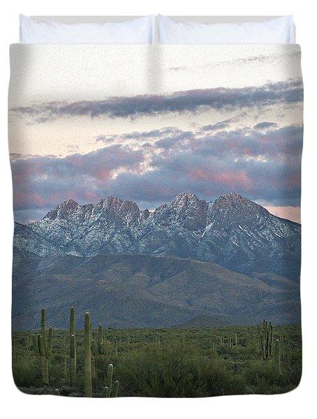 Four Peaks Sunset Snow Duvet Cover