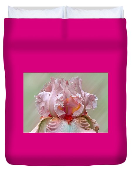 Duvet Cover featuring the photograph Pink Electrabrite Bearded Iris by Patti Deters