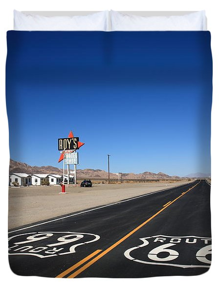 Route 66 Shield Duvet Cover by Frank Romeo