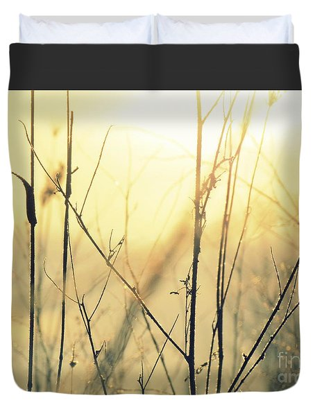 Duvet Cover featuring the photograph Wildflowers Winter by France Laliberte