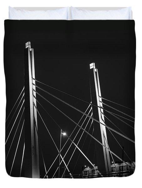 6th Street Bridge Black And White Duvet Cover