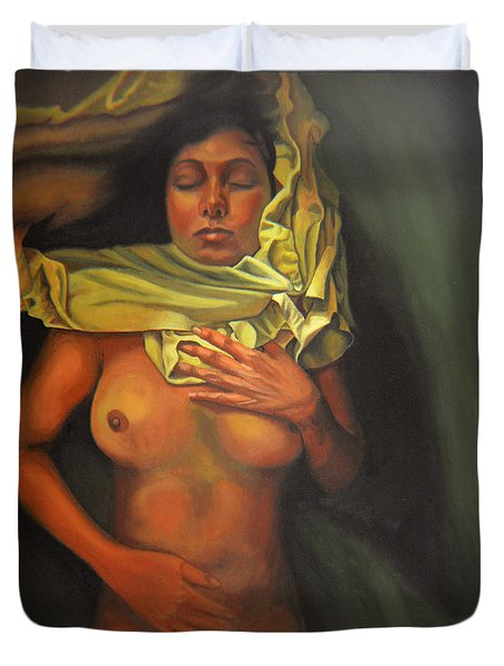 Duvet Cover featuring the painting 7 30 A.m. by Thu Nguyen