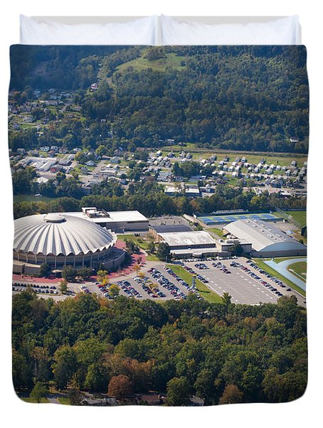 aerials of WVVU campus Duvet Cover by Dan Friend