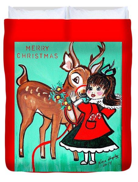 Little Girl With Reindeer Duvet Cover