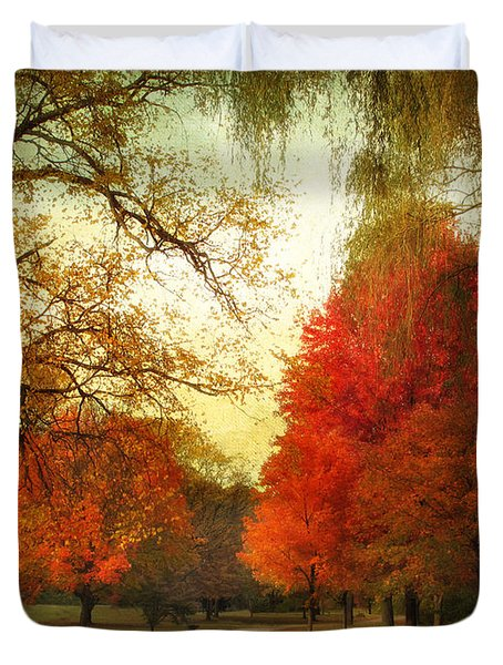 Duvet Cover featuring the photograph Autumn Promenade by Jessica Jenney