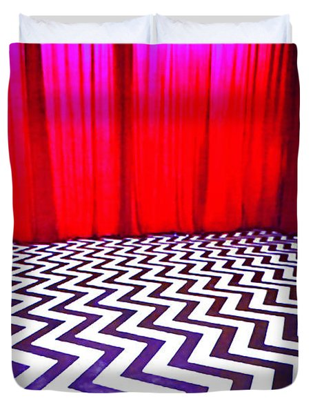 Duvet Cover featuring the painting Black Lodge by Luis Ludzska