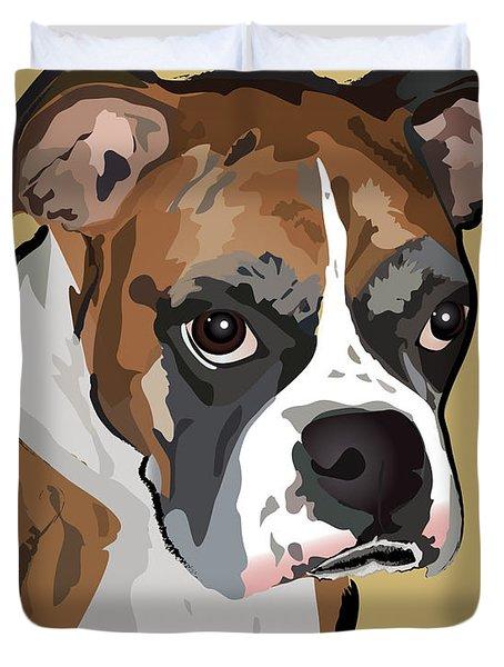 Boxer Dog Portrait Duvet Cover