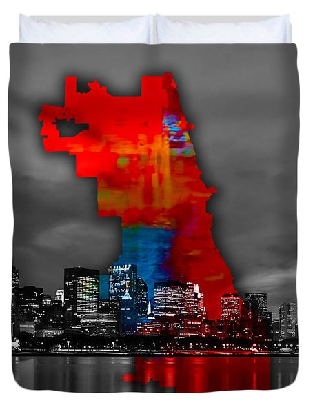 Chicago Map And Skyline Watercolor Duvet Cover by Marvin Blaine