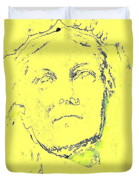 Duvet Cover featuring the drawing Face by Yury Bashkin
