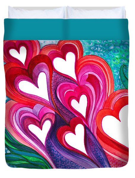 7 Hearts Duvet Cover by Adria Trail