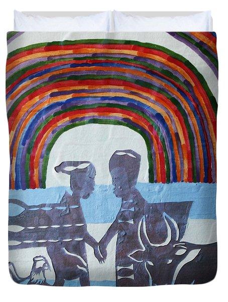 Kintu And Nambi Duvet Cover by Gloria Ssali