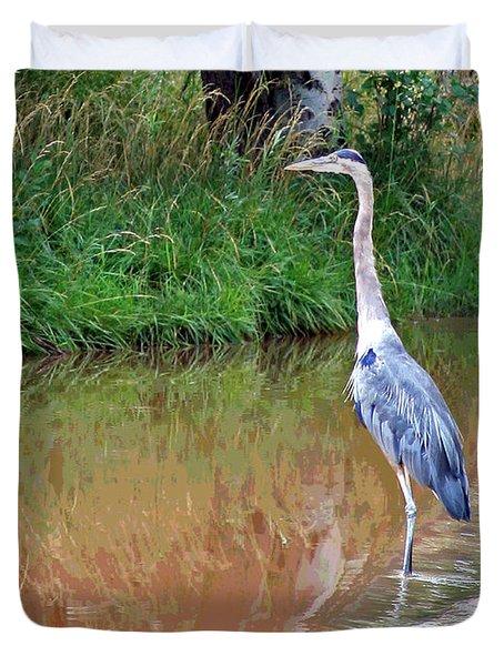 Blue Heron On The East Verde River Duvet Cover