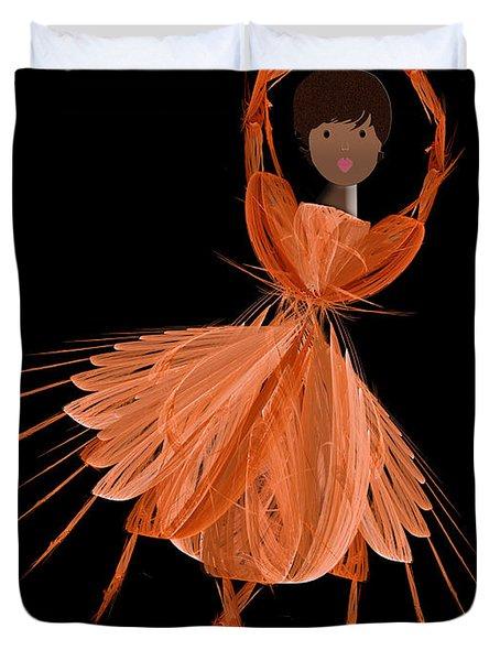 7 Orange Ballerina Duvet Cover by Andee Design