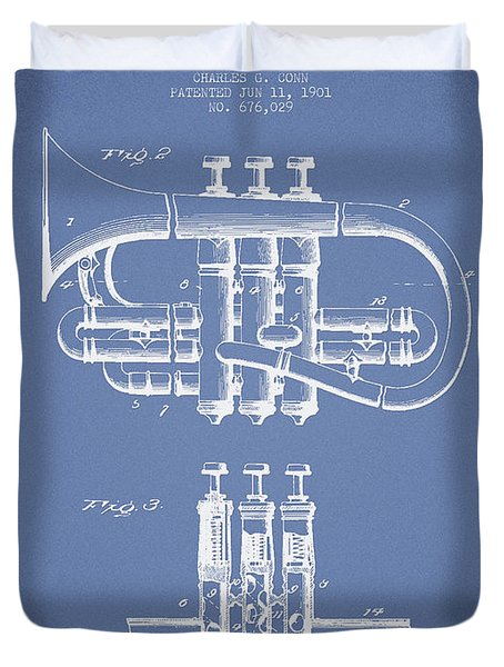 Cornet Patent Drawing From 1901 - Light Blue Duvet Cover by Aged Pixel