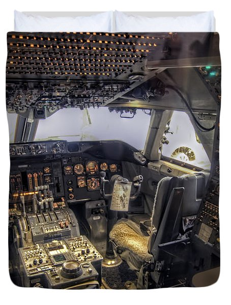 747 Cockpit Duvet Cover