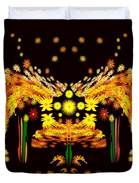 758 -  Yellow  Flowers In The Night  Duvet Cover by Irmgard Schoendorf Welch