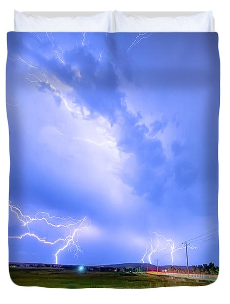 95th And Woodland Lightning Thunderstorm View Hdr Duvet Cover