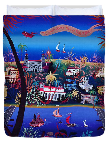 75th Anniversary Of Palm Beach, Florida Oil On Canvas Duvet Cover