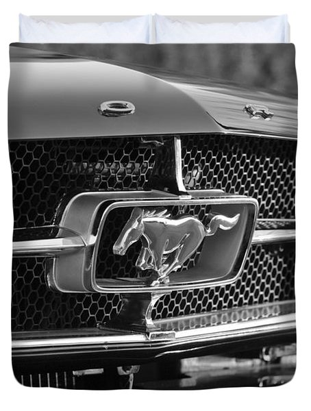 1965 Shelby Prototype Ford Mustang Grille Emblem Duvet Cover by Jill Reger