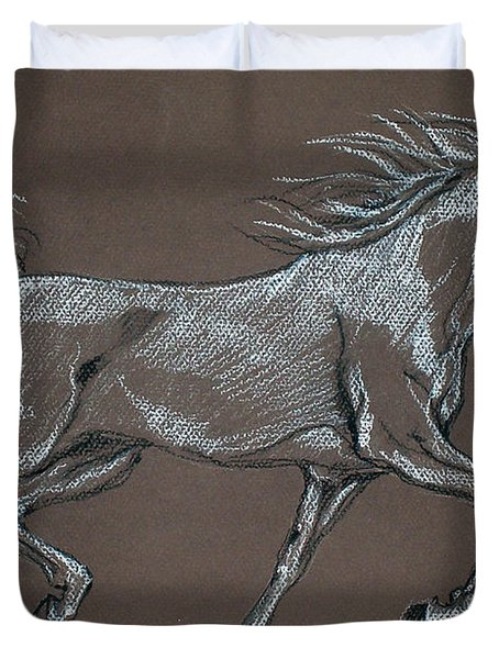Arabian Horse  Duvet Cover by Angel  Tarantella
