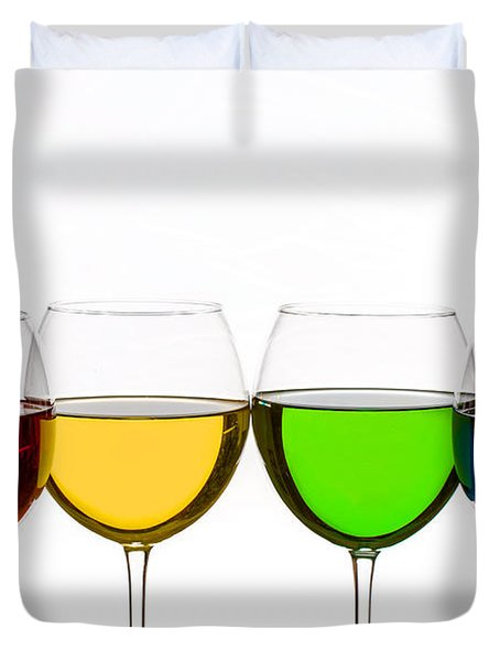 Colorful Wine Glasses Duvet Cover by Peter Lakomy
