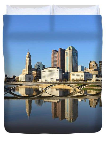 Fx1l-1058 Columbus Ohio Skyline Photo Duvet Cover