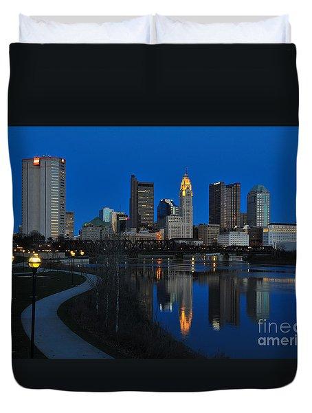 Columbus Ohio Skyline At Night Duvet Cover