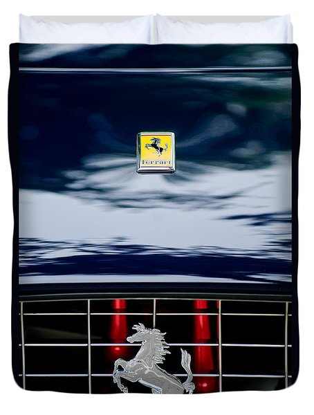 Ferrari Hood Emblem Duvet Cover by Jill Reger