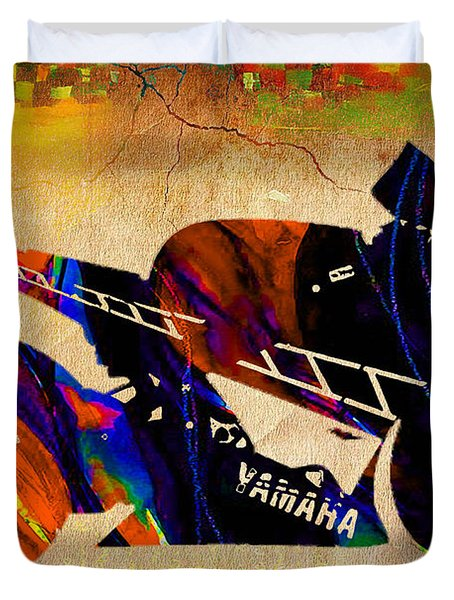 Ninja Motorcycle Duvet Cover by Marvin Blaine