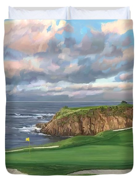 8th Hole Pebble Beach Duvet Cover by Tim Gilliland