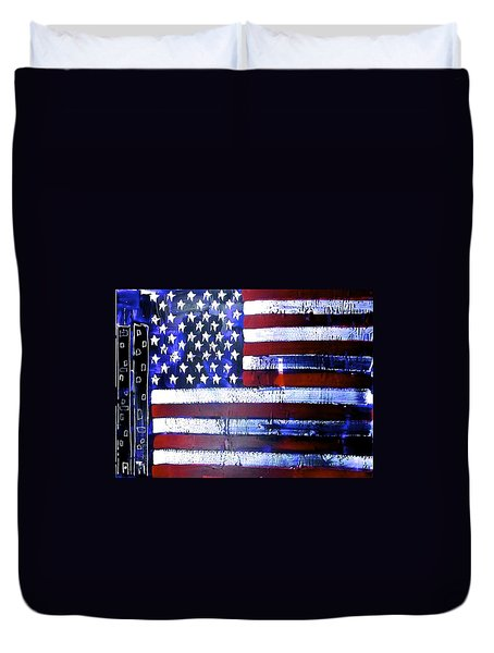 9-11 Flag Duvet Cover by Richard Sean Manning