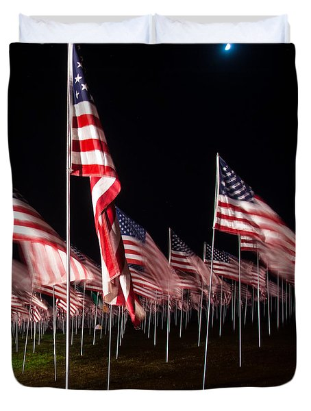 Duvet Cover featuring the digital art 9-11 Flags by Gandz Photography